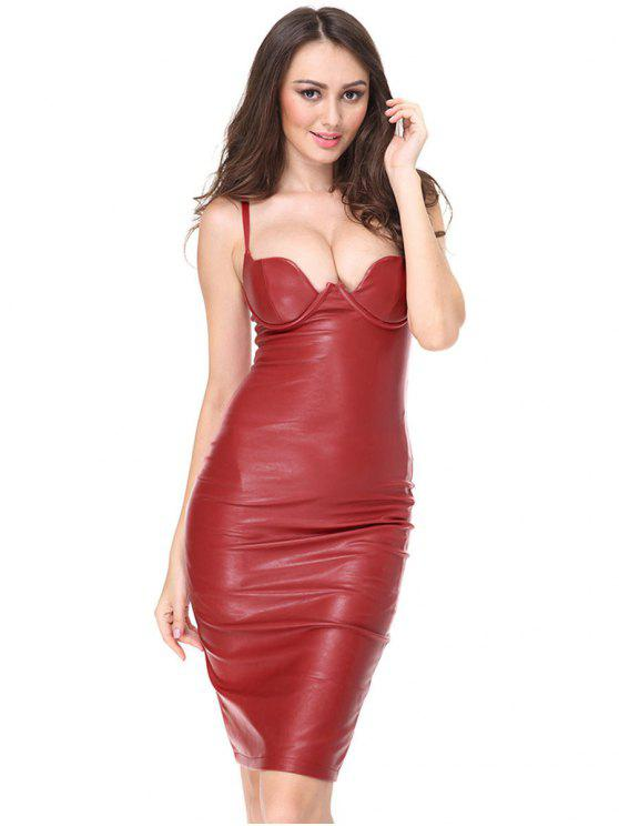 ladies Back Slit Faux Leather Fitted Cami Dress - RED L