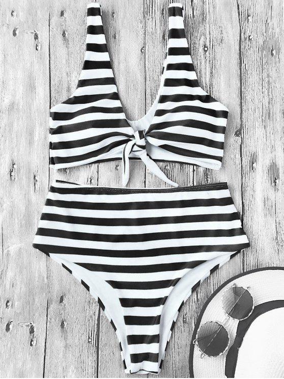 womens Knotted Striped High Waisted Bikini Set - WHITE AND BLACK S