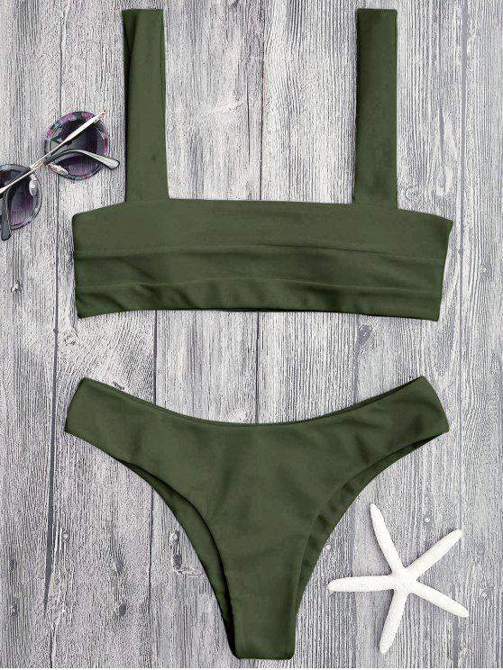 fashion Bandeau Padded Bikini Top and Bottoms - GREEN L