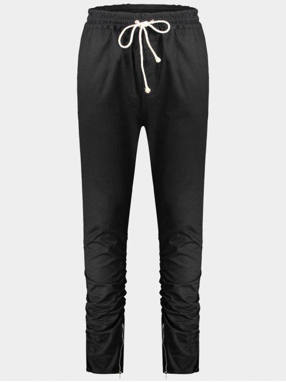 Slim Fit Drawstring Mens Twill Pants - Noir XL