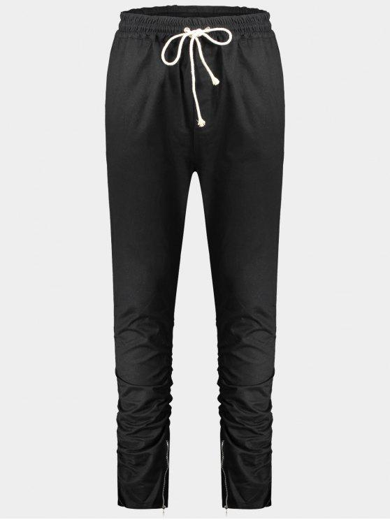 Slim Fit Drawstring Mens Twill Pants - Noir L