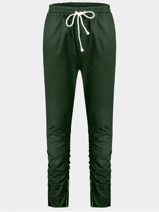 outfit Slim Fit Drawstring Mens Twill Pants - GREEN XL