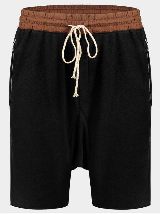 Bolsillos con Zip Basculador Terry Sweat Shorts - Negro XL