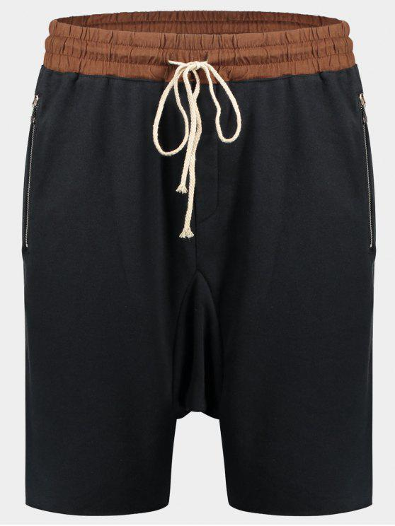 chic Zip Pockets Jogger Terry Sweat Shorts - CADETBLUE M