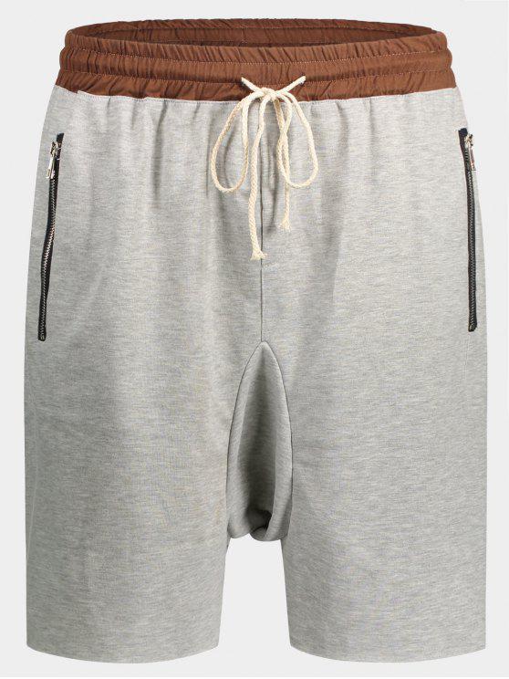 fancy Zip Pockets Jogger Terry Sweat Shorts - GRAY XL