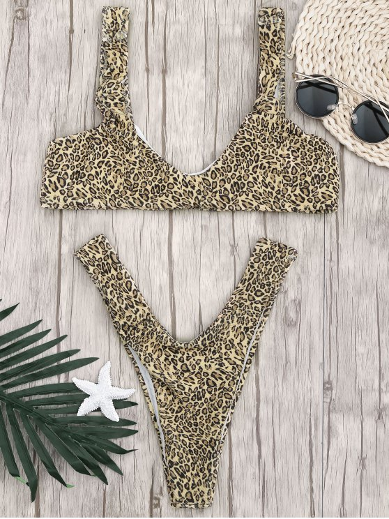 womens Knotted Leopard Print Thong Bathing Suit - LEOPARD S