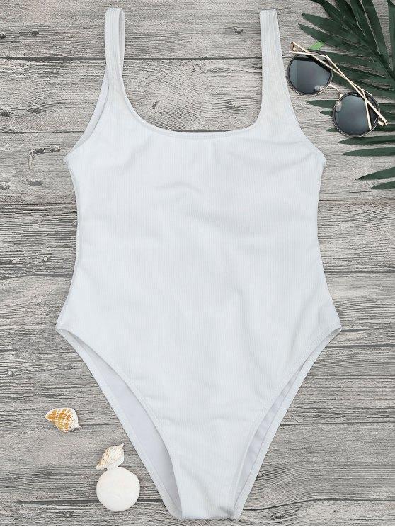 High Cut Texturizado cucharada traje de baño de una pieza - Blanco L