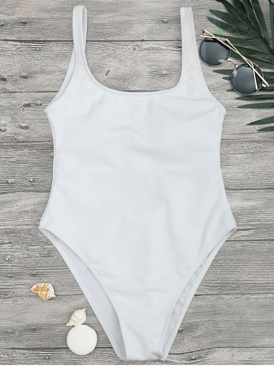shop High Cut Textured Scoop One Piece Swimsuit - WHITE M