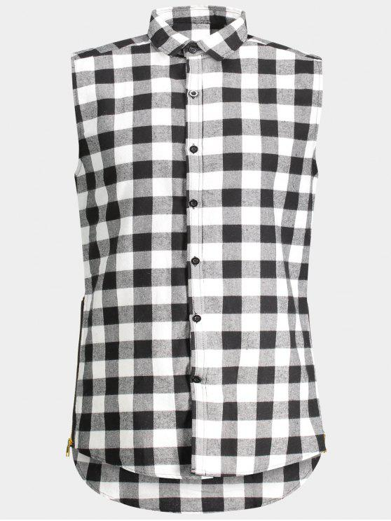 womens Checked Twill Mens Sleeveless Shirt - GRAY L