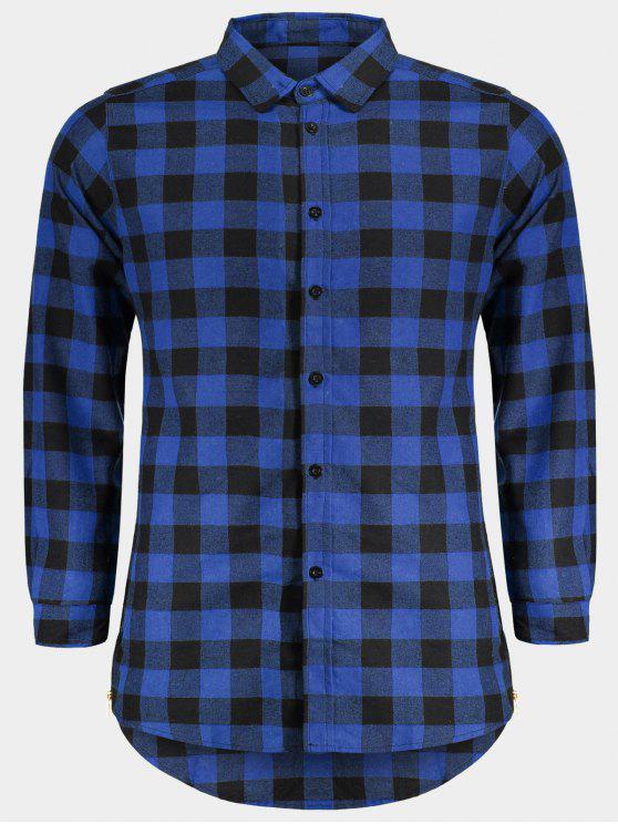Chemise à carreaux décontractée pour hommes - Bleu L