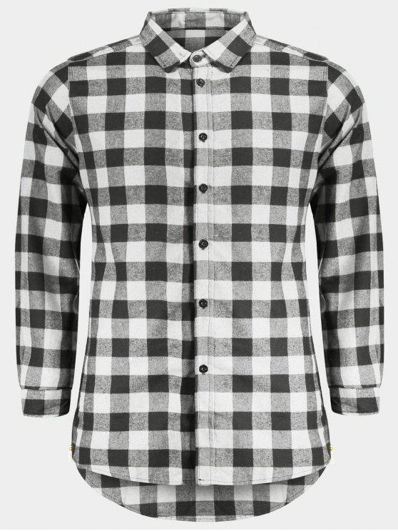 Camisa Xadrez Casual Masculina - Cinzento L