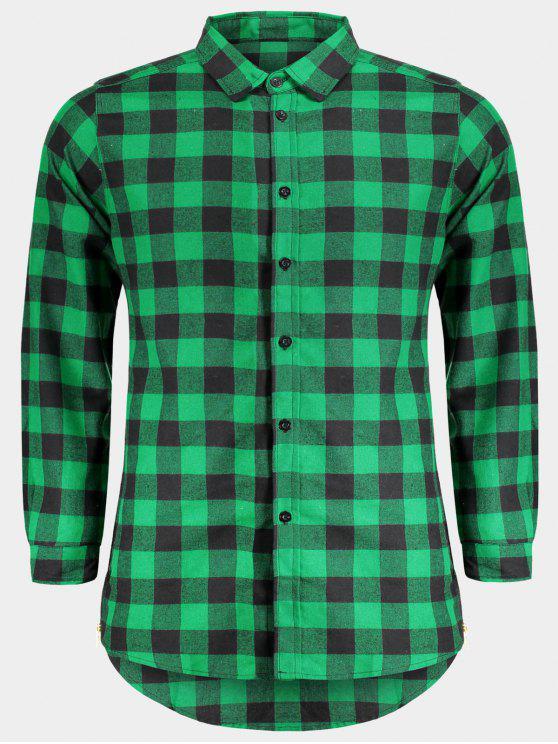 Chemise à carreaux décontractée pour hommes - Vert L