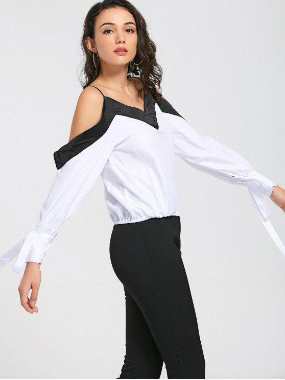Top de hombro frío de dos tonos - Blanco y Negro S