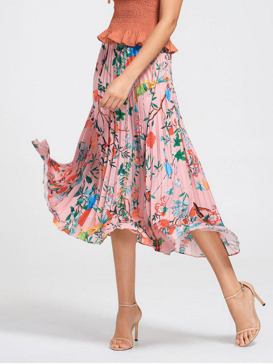 trendy Floral Maxi Pleated Skirt - FLORAL S