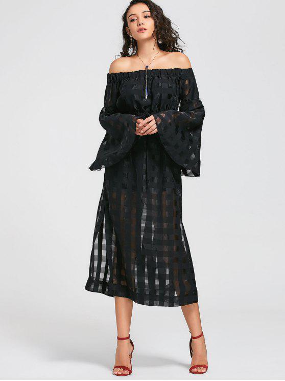انظر من خلال قبالة الكتف فستان ماكسي - أسود L