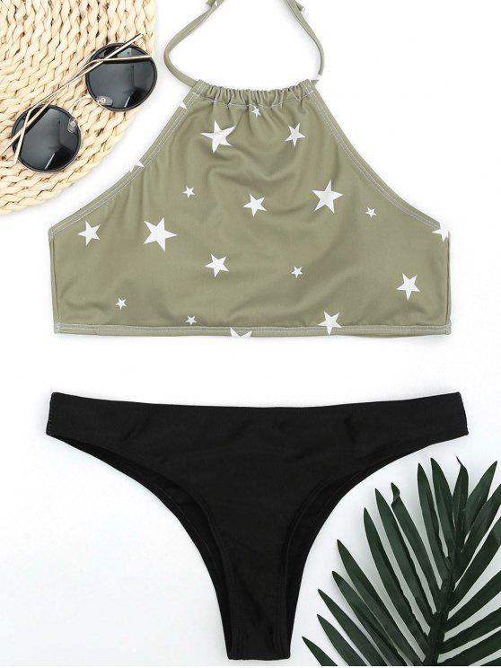sale High Neck Pentagram Print Thong Bikini - LIGHT GREEN S