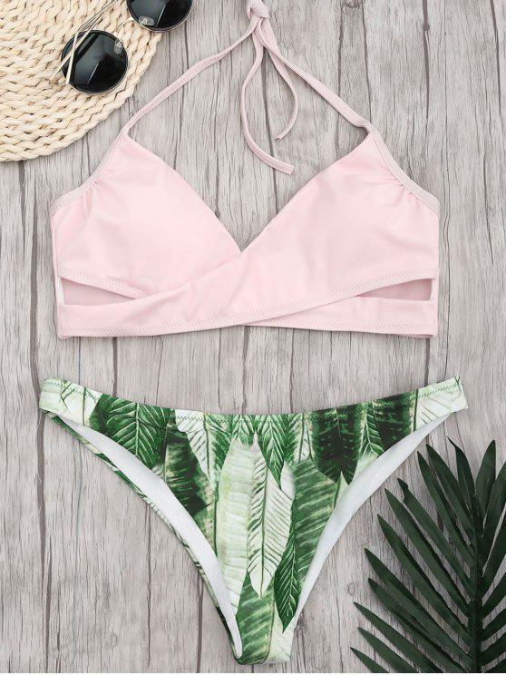 affordable Halter Crossover Palm Leaf Bikini - PINK L
