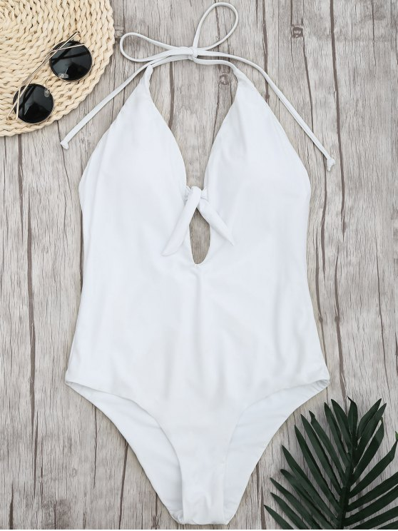 women Padded Front Tied High Cut Swimwear - WHITE L