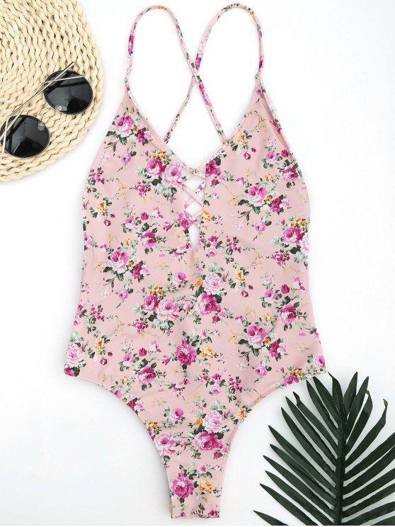 Strappy pequeño traje de baño floral de corte alto - Rosa S