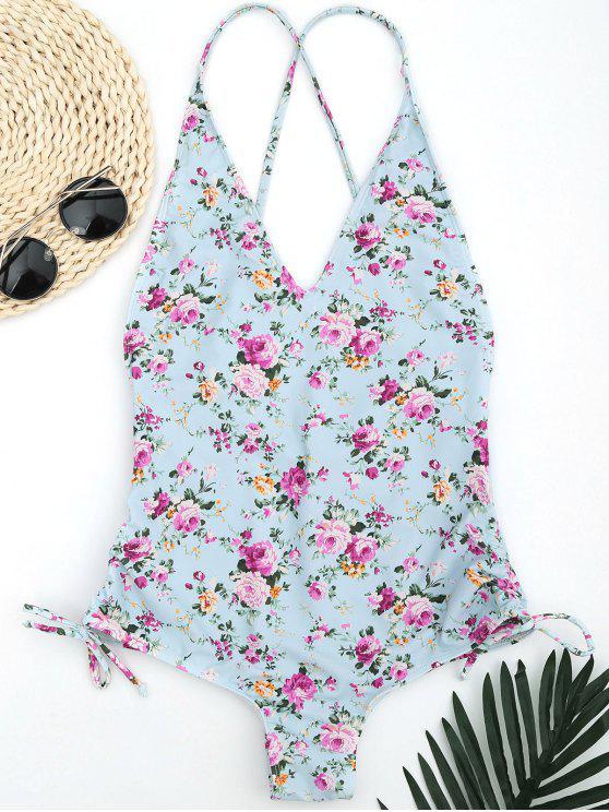 Side Drawstring pequeño traje de baño acanalado floral - Azul Claro M