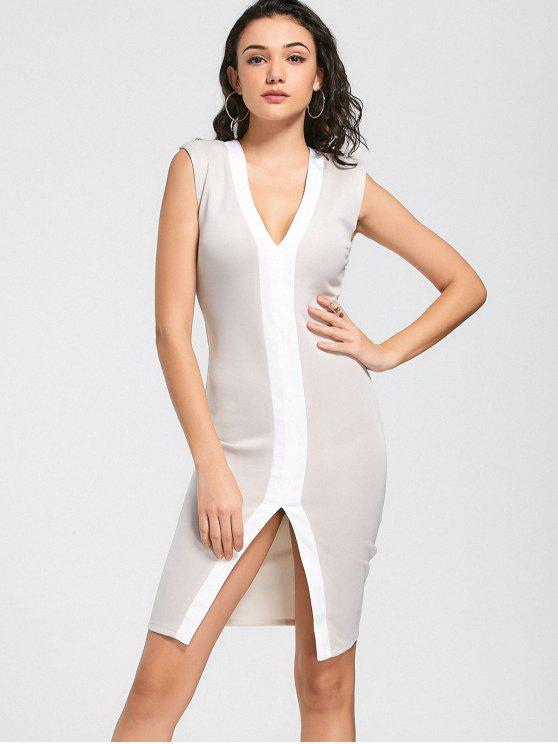 sale Two Tone Slit Bodycon Prom Dress - APRICOT L