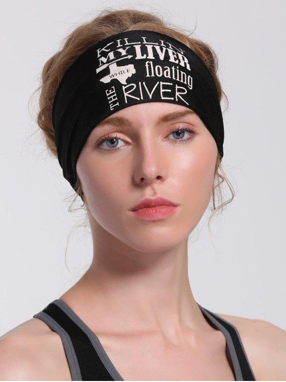 women Letters Pattern Running Hip Hop Headband - BLACK