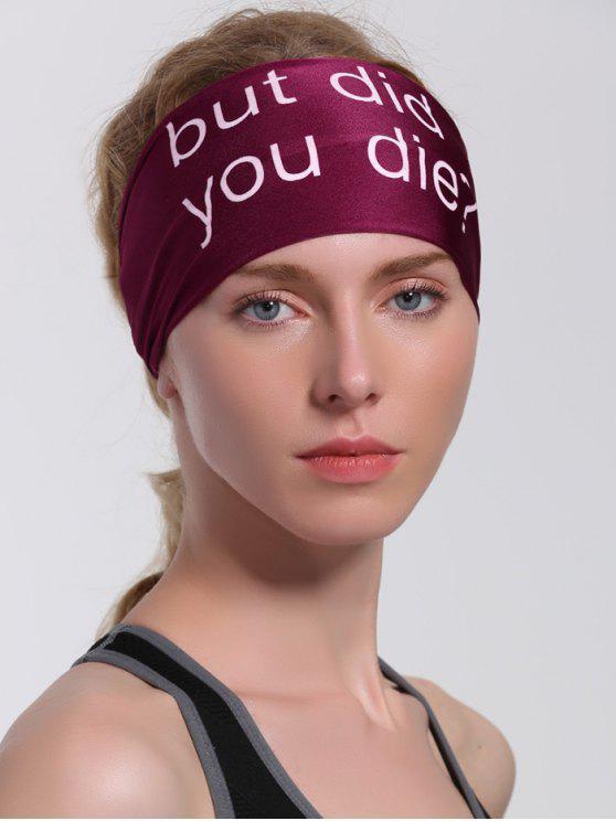 online Hip Hop Sentence Printed Running Headband - CLARET