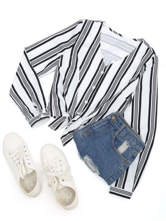 hot Stripes Button Up Blouse - STRIPE M