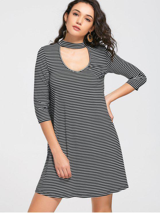 women Drop Shoulder Stripes Choker Dress - STRIPE XL
