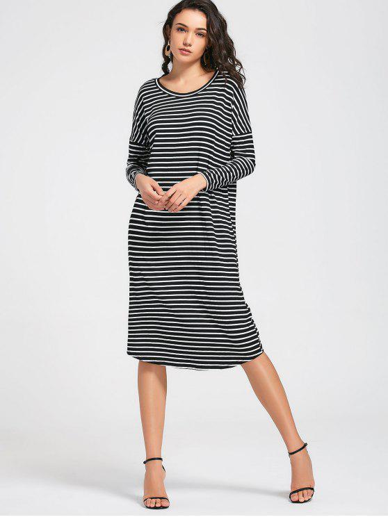new Stripes Long Sleeve Midi Casual Dress - STRIPE M