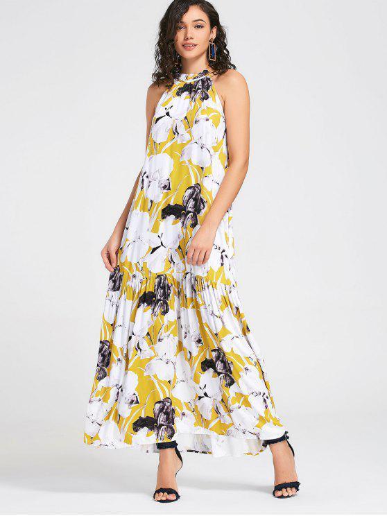 فستان طباعة الأزهار كشكش ماكسي - أبيض L