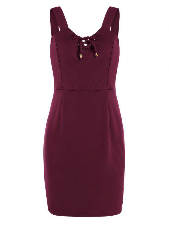 buy Lace Up Fitted Mini Dress - DEEP RED XL