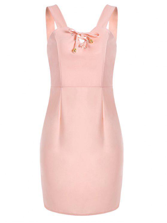 Mini robe à lacets - ROSE PÂLE S