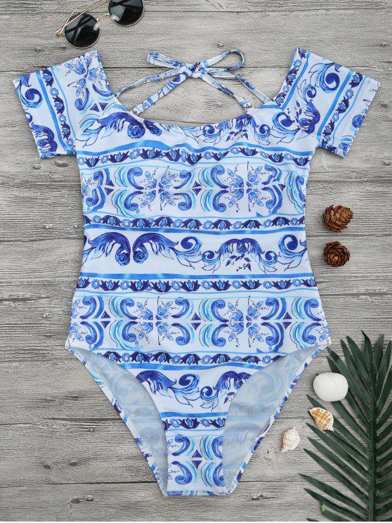 قبالة الكتف الخزف طباعة ملابس السباحة - ازرق وابيض S