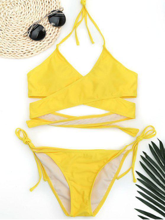 sale Halter Wrap String Bathing Suit - YELLOW L
