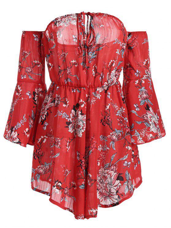 Off The Shoulder Flare Sleeve Floral Romper - Floral XL