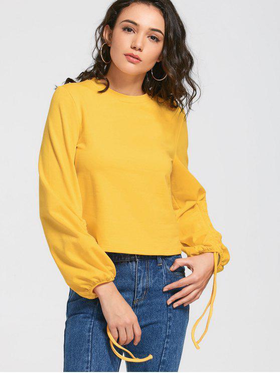 women's Loose Gathered Sleeve Sweatshirt - YELLOW S