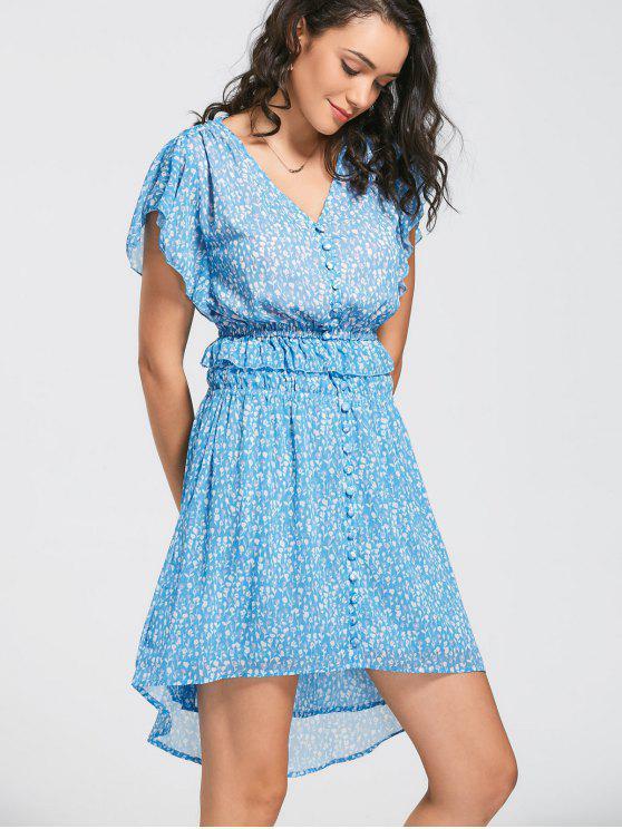 A فستان كشكش طباعة الأزهار زر بخط - الأزهار M