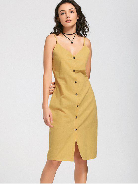 outfits Slit Belted Button Up Slip Dress - YELLOW M