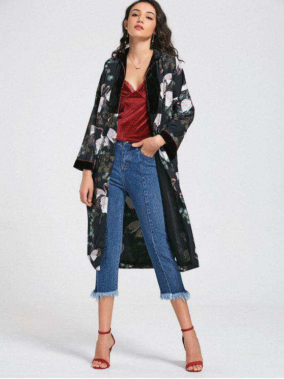 Kimono Crane Floral Duster Coat - Multicolor L
