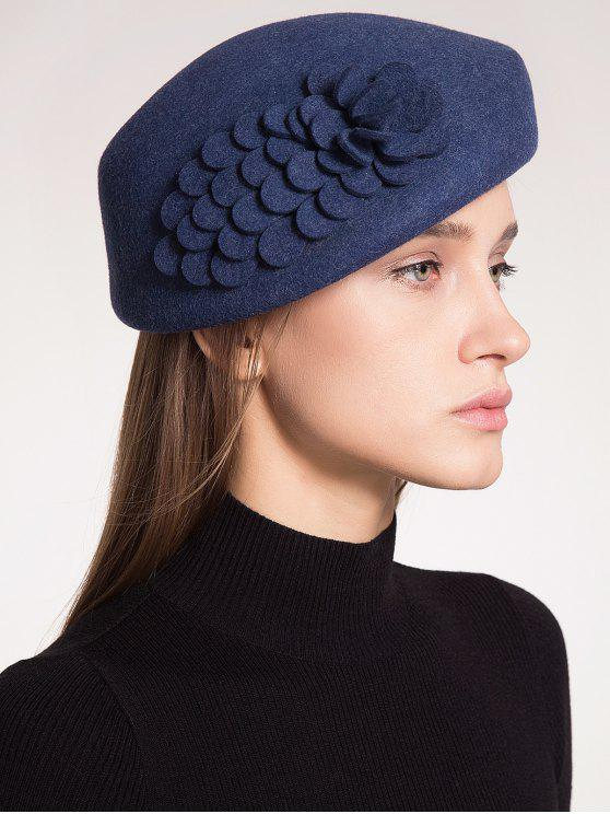 Chapéu de lã adornado floral de lã de pílula - Azul Arroxeado