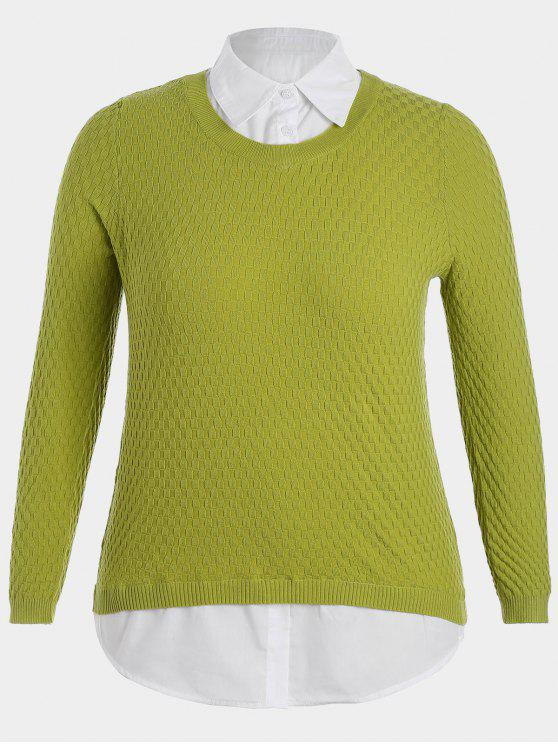lady Plus Size Pullover Layered Look Sweater - LIGHT GREEN 3XL