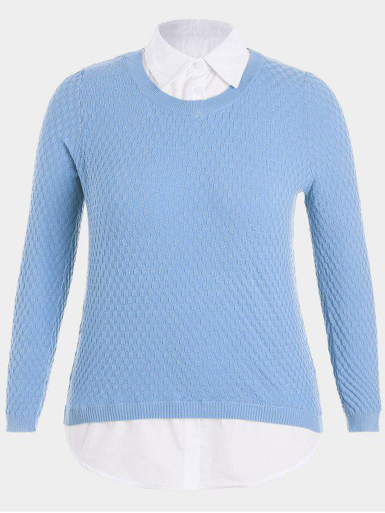 outfits Plus Size Pullover Layered Look Sweater - CLOUDY 3XL