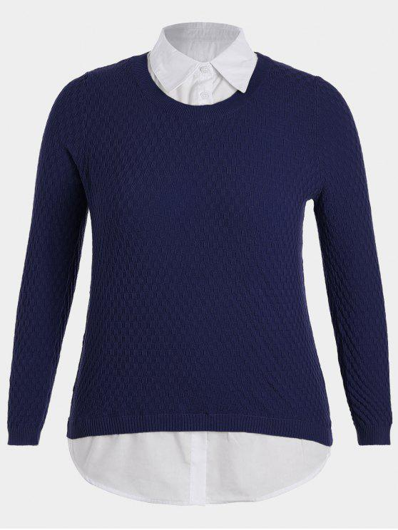 Pull Multi-Couches Grande Taille - Bleu Violet 2XL