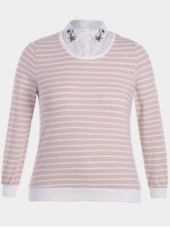 buy Embroidered Overlay Plus Size Striped Top - PINK AND WHITE 2XL