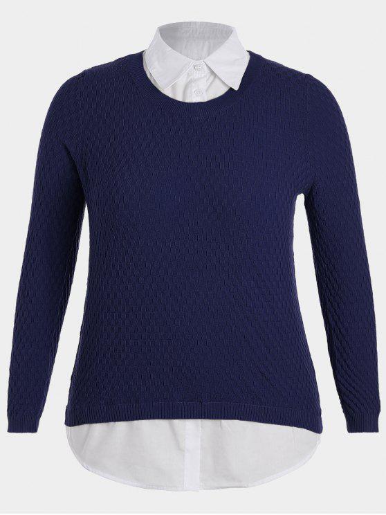 womens Plus Size Pullover Layered Look Sweater - PURPLISH BLUE XL