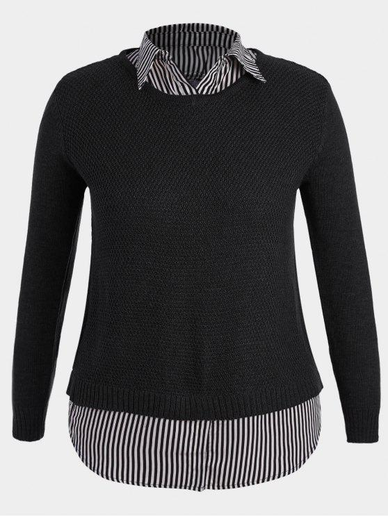 online Pullover Stripe Plus Size Sweater - BLACK 2XL
