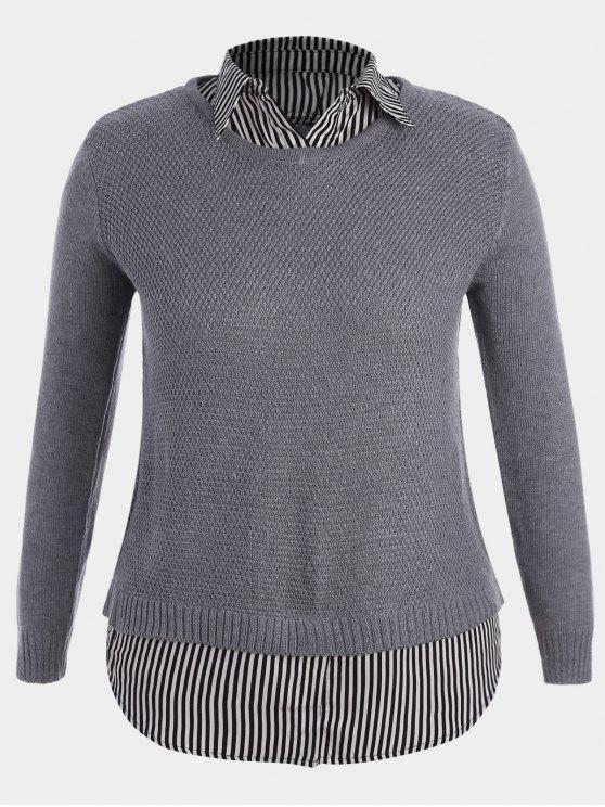 shops Pullover Stripe Plus Size Sweater - GRAY XL