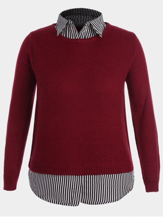 Pullover Stripe Plus Size Sweater - Rouge 3XL