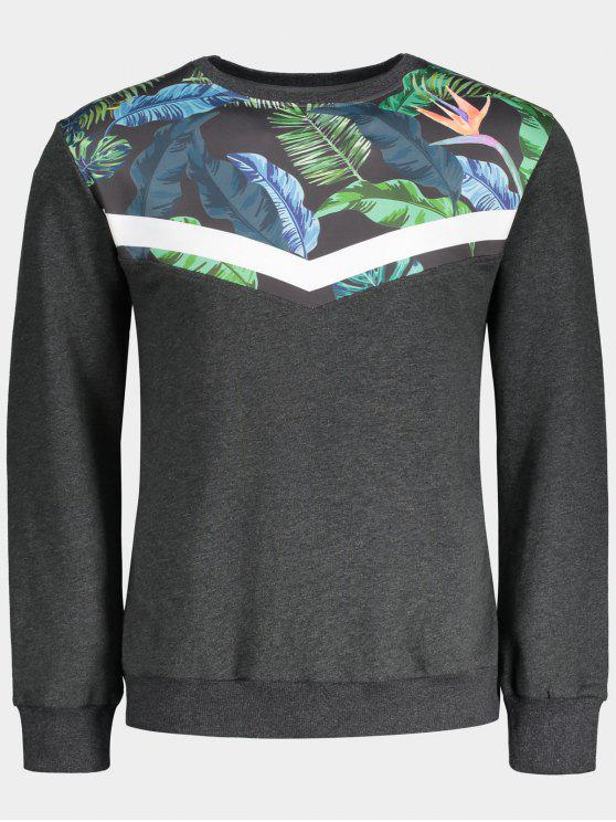 affordable Crew Neck Leaves Print Insert Sweatshirt - GRAY L